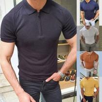 Einfaches Gestricktes Top für Herren mit Kurzen Ärmeln Polo-Kragen und Volltonfarbe