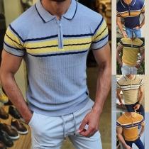 Modernes Gestricktes Top für Herren in Kontrastierenden Farben mit Kurzen Ärmeln und Polo-Kragen
