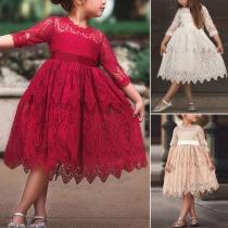 Niedliches Prinzessin-Kleid für Kleine Mädchen mit 3/4 Ärmeln Rundhalsausschnitt und Spitze