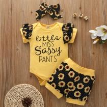 Niedliches Dreiteiliges Set für Kleinkinder mit Sonnenblumenmuster bestehend aus Strampelanzug + Shorts + Stirnband
