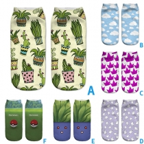 Niedliche Kurze Socken mit 3D Cartoon-Motiv Socken 2 Paar / Set
