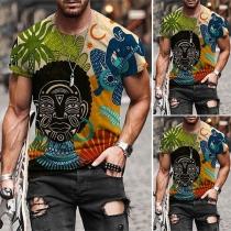 Lässiges T-Shirt für Herren mit Kurzen Ärmeln Rundhalsausschnitt und Totem-Motiv