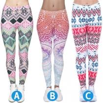 Schicke Dehnbare Leggings mit Hoher Taille und Buntem Muster