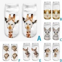 Niedliche Unsichtbare Kurze Socken mit Tier-Motiv