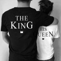 Modernes T-Shirt für Paare mit King- und Queen-Text Paar Kurzen Ärmeln und Rundhalsausschnitt