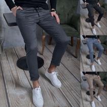 Einfache Lässig Hose für Herren mit Mittelhoher Taille und Volltonfarbe