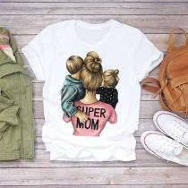 Lässiges Super-Mom-T-Shirt mit Kurz Ärmeln und Rundem Ausschnitt
