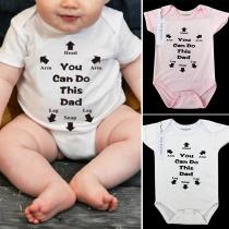 Lässiger Bedruckter Strampelanzug für Ihr Baby mit Kurzen Ärmeln Rundem Ausschnit