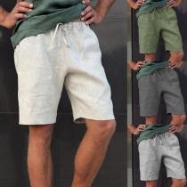 Einfache Lässige Knielange Sportliche Shorts für Herren in Volltonfarbe und Taille mit Tunnelzug