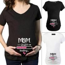 Lässiges Schwangerschafts-T-Shirt mit Kurzen Ärmeln Rundhalsausschnitt Baby-Loading-Aufdruck und Rundem Ausschnitt