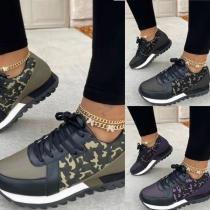 Lässige Schuhe mit Schnürsenkeln Flachem Absätzen und Tarnmuster