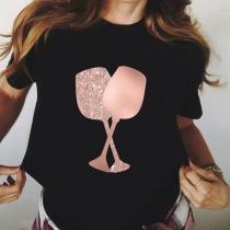 Schickes T-Shirt mit Kurzen Ärmeln Rundhalsausschnitt und Weinglasmotiv