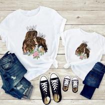 Einfaches Bedrucktes T-Shirt für Mutter und Kind mit Kurzen Ärmeln Rundhalsausschnitt und Mutter-und-Tochter-Motiv