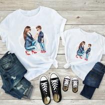 Einfaches T-Shirt für Mutter und Kind mit Kurzen Ärmeln Rundhalsausschnitt Mutter-und-Sohn-Motiv