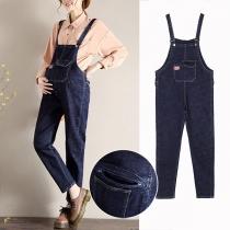 Verspielte Latzhose aus Jeansstoff für Schwangere Frauen mit Hoher Taille und Lockerer Passform