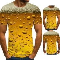 Lässiger T-Shirt für Herren mit 3D Luftblasenmotiv Kurzen Ärmeln und Rundhalsausschnitt