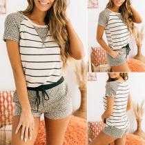 Fashion Leopard Spliced Short Sleeve Stripe T-shirt + Shorts Home-wear Set