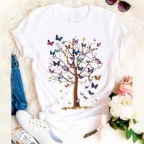 Lässiges T-Shirt mit Kurzen Ärmeln Rundhalsausschnitt und Schmetterling- und Baummotiv