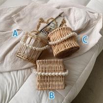 Modernes Umhängetasche aus Bambus mit Schulterband