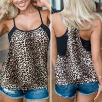 Sexy Lockeres Top mit Freiem Rücken Leopardenmuster und Trägern
