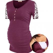 Modernes Schwangerschafts-T-Shirt mit Spitzendesign Kurzen Ärmeln und Rundhalsausschnitt