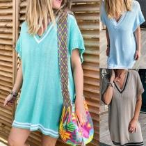 Fashion Contrast Color Dolman Sleeve V-neck loose Knit Dress