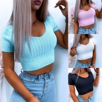 Sexy Short Sleeve Round Neck Solid Color Knit Crop Top