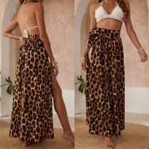 Sexy High Slit Hem High Waist leopard Printed Skirt