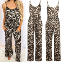 Sexy Backless High Waist Leopard Printed Sling Jumpsuit