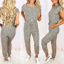 Fashion Short Sleeve Round Neck High Waist Leopard Printed Jumpsuit