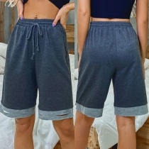 Casual Style Contrast Color Elastic Waist Knee-length Shorts