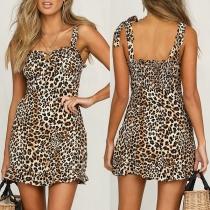 Sexy Backless Ruffle Hem Leopard Printed Slim Fit Sling Dress