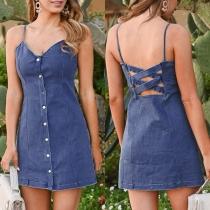 Sexy Backless V-neck Single-breasted Slim Fit Sling Denim Dress