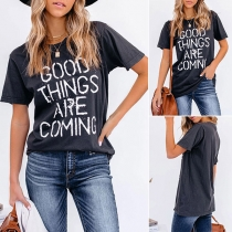 Casual Style Short Sleeve Round Neck Letters Printed Loose T-shirt