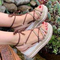Geschnürte Schuhe im Böhmischen Stil mit Dicken Sohlen und Freien Zehen Schnürsandalen
