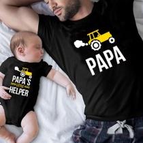 Lässiges bedrucktes Vater-und-Sohn-T-Shirt mit Traktor-Motiv und dem Wort PAPA