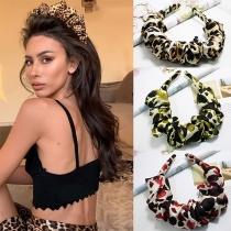 Plissiertes Haarband im Retrostil mit Leopardenmuster 2-teiliges Set