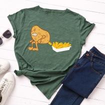 Schickes Freizeit-T-Shirt mit Cartoon-Kartoffelmotiv Kurzen Ärmeln und Rundhalsausschnitt