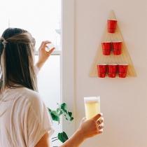 Kreatives Dreieckiges Bier-Pong-Set aus Holz