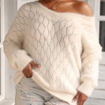 Moderner Lockerer Pullover mit Langen Ärmeln Volltonfarbe und V-Ausschnitt