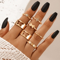 Fashion Rhinestone Inlaid Gold-tone Butterfly Ring Set 7 pcs/Set