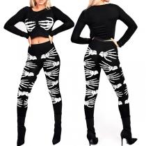 Chic Style Skull Hand Pattern Long Sleeve T-shirt + Pants All Saints' Day Set