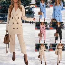 Stilvoller Anzug in Volltonfarbe bestehend aus einem Zweireihigem Blazer + Hose