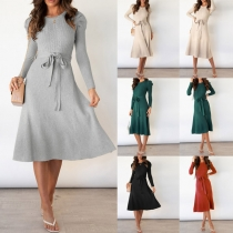 Fashion Solid Color Puff Sleeve Round Neck Tie-belt Knit Dress