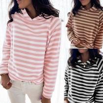Casual Style Long Sleeve Hooded Stripe Sweatshirt