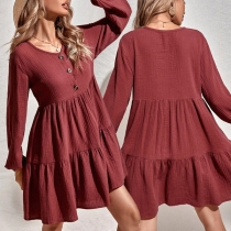 Fashion Solid Color Long Sleeve V-neck Front-buttom High Waist A-line Dress