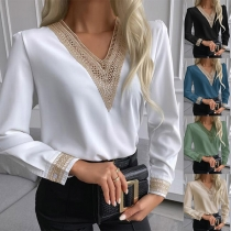 Sexy Lace Spliced V-neck Long Sleeve Top