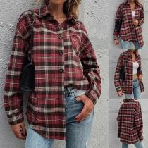 Retro Style Long Sleeve POLO Collar Single-breasted Plaid Shirt