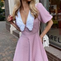 Sweet Style Doll Collar Puff Sleeve High Waist Dots Printed Dress
