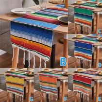 Tischdecke im Böhmischen Stil mit Bunten Streifen in Regenbogenfarben